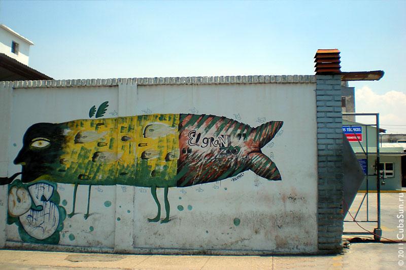 Граффити в Гаване. Рыба с ногами.